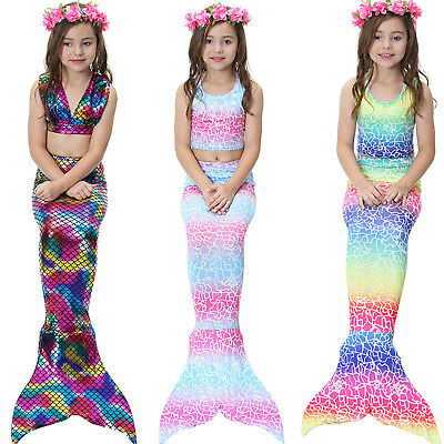 Kids Girls 3Pcs Mermaid Tail Swimming Bikini Set Swimwear Mono Fin Swimmable