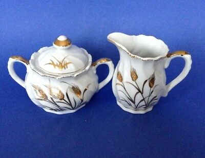 Lefton Gold Wheat Sugar Bowl And Creamer - White With Brilliant Gold Moriage