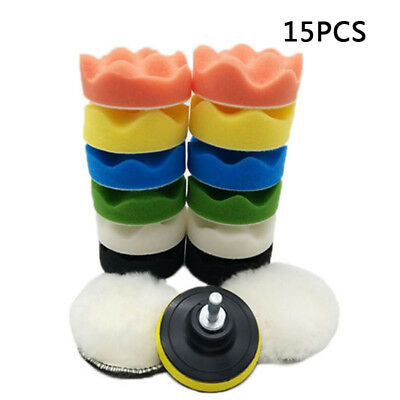 """15pc 3"""" inch Round Polishing Buffing Wax Pad+M10 Drill Adapter for Car Polisher"""