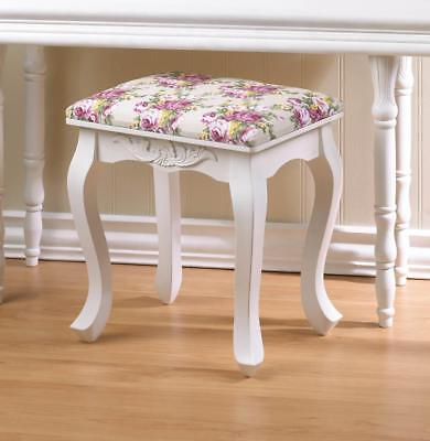 """Antique Vtg Style Floral French Country 17"""" Carved Wood Stool Vanity Seat Chair"""