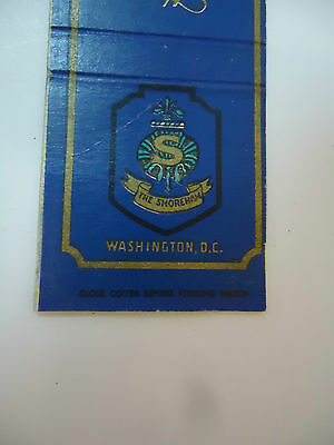 Vintage Early Matchbook Cover The Shoreham Hotel Washington, DC
