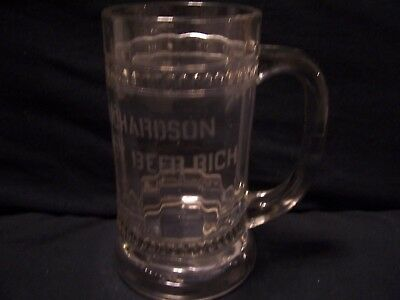 Vintage Early RICHARDSON  Root Beer Rich Glass Mug Etched