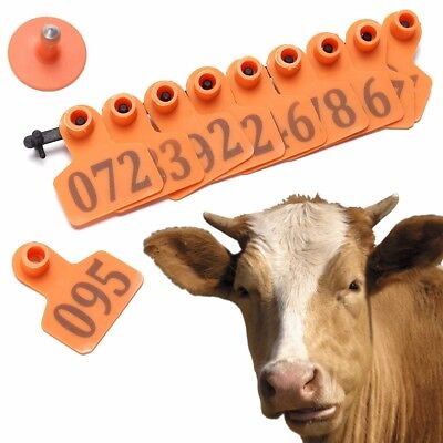 1 To 100 Number Animal Ear Tag Plastic Livestock Tags Applicator Goat Sheep Cow
