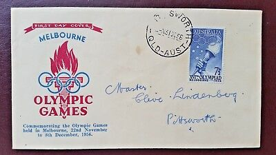 1956 Melbourne Olympic Games First Day Cover - Pittsworth Queensland