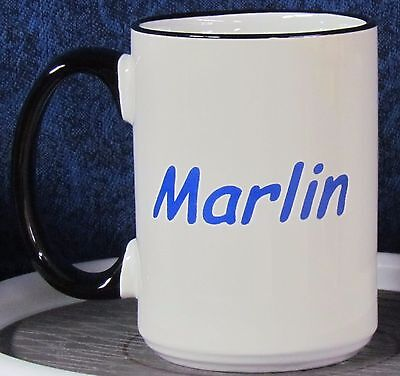 Independents Day - Marlin on a 15 oz Coffee Mug with Black Handle & Rim