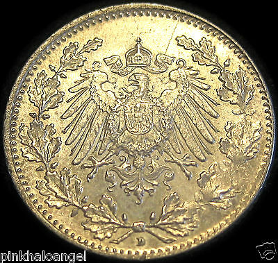 Germany  German Empire  German 1918D Silver Half Mark Coin   WW1 RARE
