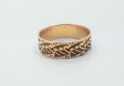 Beautiful Vintage Antique Gold Filled Detailed Mens Ladies Band Ring Size 8.75