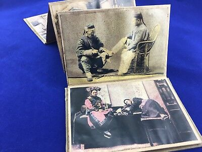 Vintage Chinese Accordion Fold Book 10 color tinted Pictures