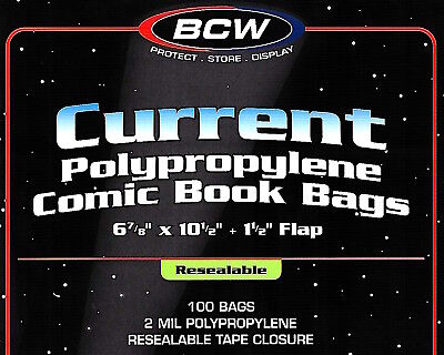 500 Current Resealable Comic Bags and Boards Archival Book Storage BCW