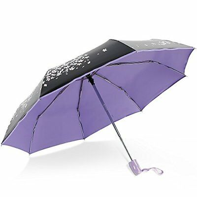 New Lady's folding umbrella Purple automatic one-touch open/close Japan