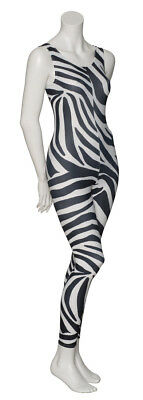 KDC016 Zebra Animal Print Sleeveless Footless Dance Catsuit By Katz Dancewear