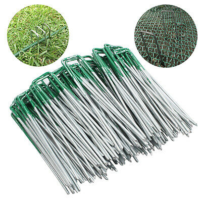 100PCS Lawn Anchor Pins Pegs for Weed Mat Turf Grass Tent Synthetic U Shape