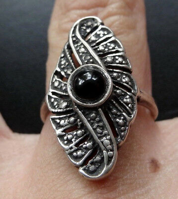 vintage STERLING SILVER black ONYX stone wide flower ring size 6 3/4 -A310