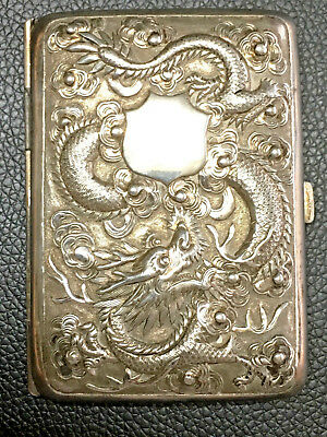 1900s CHINA CHINESE HIGH RELIEF DRAGON SOLID SILVER CARD CASE WITH HALLMARK 纯银盒