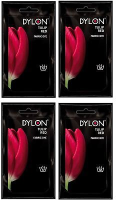 4 Dylon Hand Wash Fabric Clothes Dye 50g Textile Permanent Colour TULIP RED