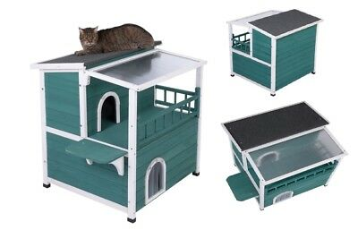 Cat Outdoor House Shelter Pen Kennel Enclosure With Sunroof Wooden Cabin Hut