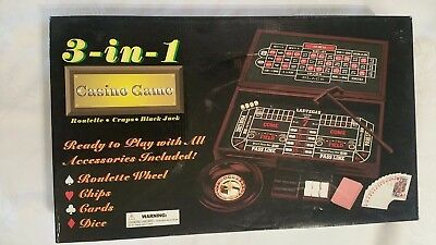 3-IN-1  Casino Game Set Roulette, Blackjack, Craps  NEW