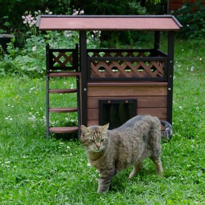 Outdoor Cat House Kitten Den Pet Wooden Maisonette Shelter Hideaway Cabin Hut