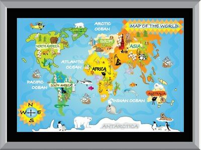 Kids World Map A1 To A4 Size Poster Prints