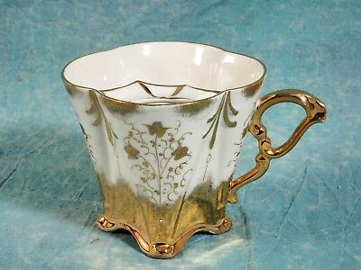 ANTIQUE Victorian Mustache Cup Gold Raised Flowers Lace Movember