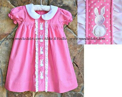77e747438 Smocked A Lot Girls Easter Bunny Dress Ruffle Collar Pink Polka Dot Fluffy  Tails