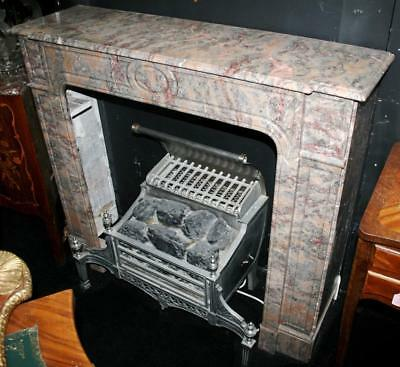 Fine Late Victorian Rouge Grey Marble Fireplace