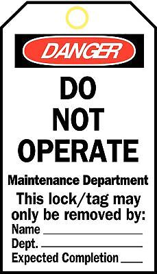 Brady Danger Tag, Cardstock, Do Not Operate Maintenance Department This Lock/Tag