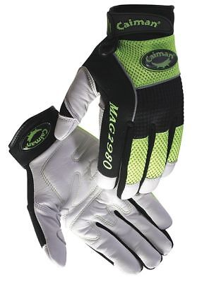 Caiman Leather Mechanics Gloves, Goatskin Leather Palm Material, White/High