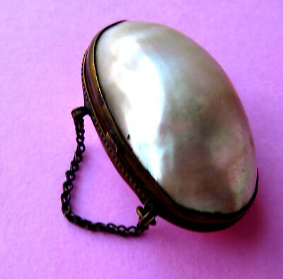 Antique Mother Of Pearl Egg  Sewing Thimble Purse,chain Handlee.