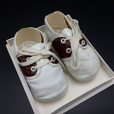 Vtg Baby Deer Shoes In Box White & Brown Saddle Shoes Sz 0 Leather USA Deerskin