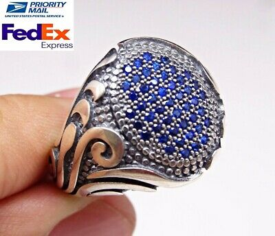 Turkish handmade 925 Sterling Silver blue sapphire Stone Mens ring ALL SİZE #209