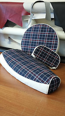 Vespa PX Blue Tartan And White Full Set Elasticated Seat Cover