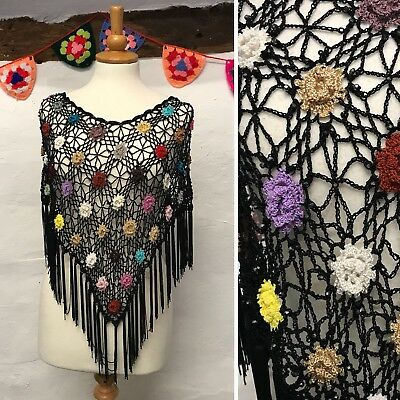 VINTAGE CROCHET BLACK BEADED FLORAL PONCHO CAPELET (ct58) ONE SIZE FITS ALL 8-16
