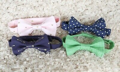 Lot of 4 Boy Bow Ties 2-4 Years, Valentines Day Bow Tie, Green Bow Tie Blue Dots
