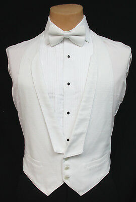 White Pique Open Back Tuxedo Vest & Bow Tie Set Tailcoat White Tie Wedding Mason