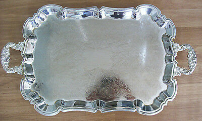 Silver Plated Tray Rectangle Handles Vintage Hong Kong Footed Gold Plated