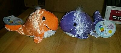 Precious moments tender tails whale purple and orange lot plush