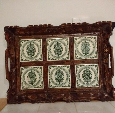 Carved Wood And Green Tiles Serving Tray BLEMISHED Bed and Breakfast Farmhouse