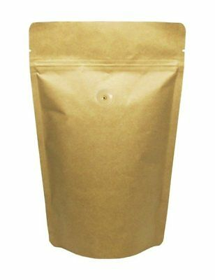 BAP 50 12 oz Kraft Stand Up Pouch with Valve for Coffee
