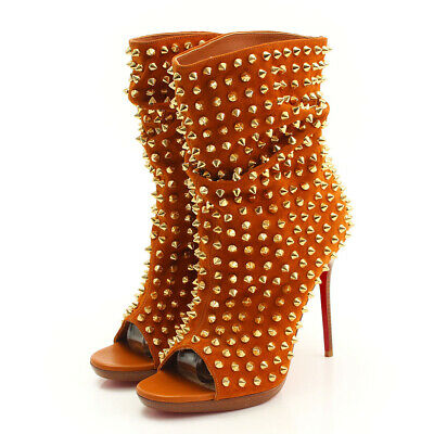 ab6b6b6b770 AUTHENTIC CHRISTIAN LOUBOUTIN Suede Spike Open Toe Booties Camel Grade A  Used-At
