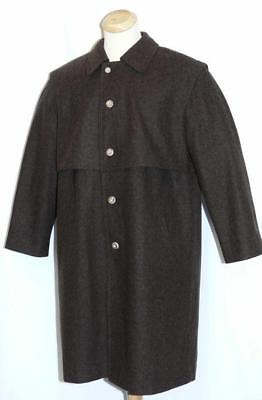 "LODEN WOOL Over COAT Men BROWN German Hunting LONG WINTER Trench / 52"" XL 2XL"