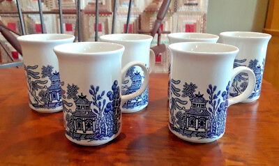 Six Churchill Blue Willow Tall Latte Coffee Cups Made in England *Mint*
