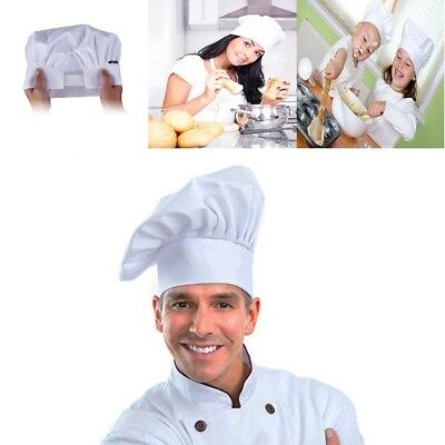 White Chef Baker Hat Adjustable Elastic Kitchen Cooking Hat Professional Chef