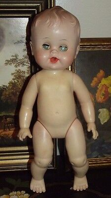 "VINTAGE BABY DOLL-MOLDED HAIR, DRINK & WET UNMARKED 13 1/2"" 1950's TLC"