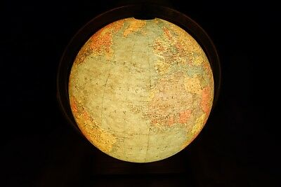 "Vintage GORGEOUS Repogle 12"" Illuminated Lighted Library GLOBE Antique Light Up"