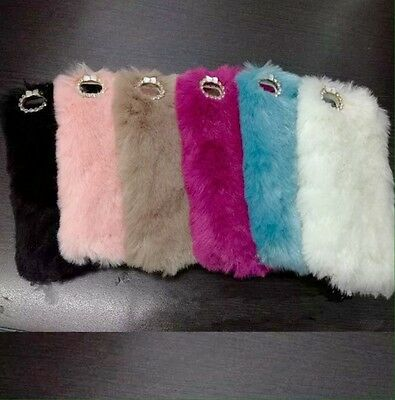 Fashion Mink Fur Rhinestone Hard Shell Cases Apple iPhone 6/6s Pink Black Ivory
