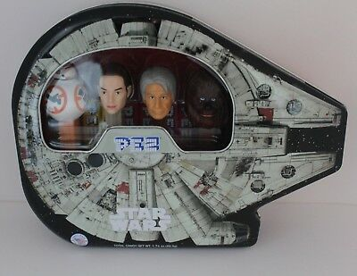 Star Wars Pez Collectible Tin Millennium Falcon,  Rey BB-8 Hans Chew NEW Sealed!