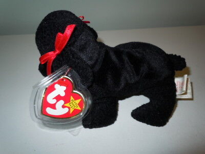 GiGi the Black Poodle Dog TY Beanie Baby With Tag April 7, 1997 Retired