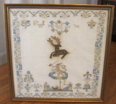 Important 1792 Pictorial Colonial SAMPLER Antique Stag Ladies Sword Philadelphia