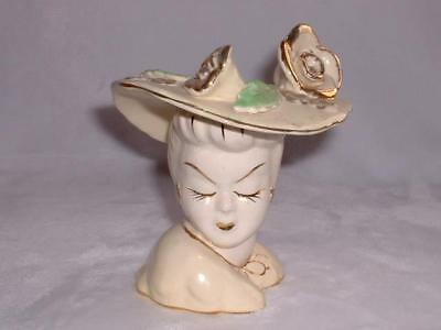 Vintage Napco White Porcelain With Gold & Green Highlights Lady Head Vase